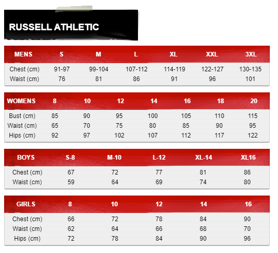 Russell Athletic Size Guide