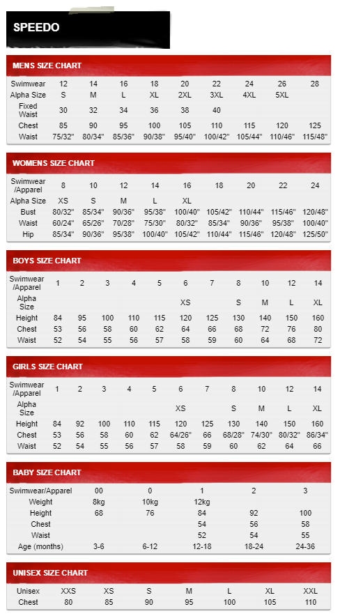 Speedo Size Guide