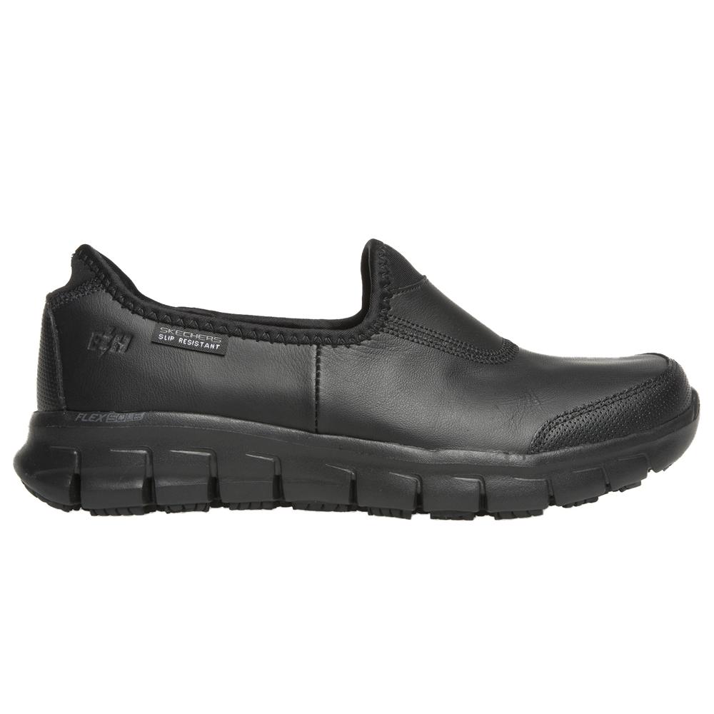 slip on black skechers